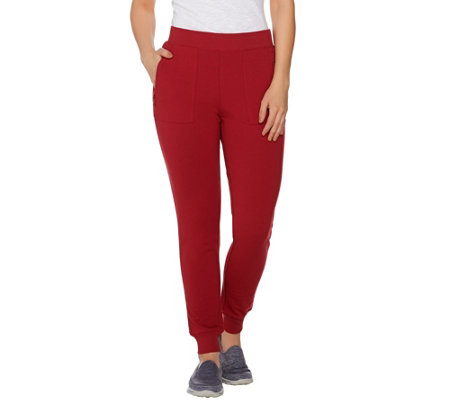 Denim & Co. Active French Terry Ankle Pants w/ Zipper Detail