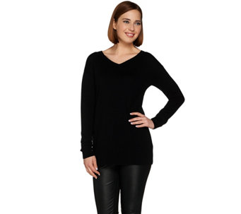 H by Halston Silk-Cashmere Blend Long Sleeve V-Neck Pullover Tunic - A279983