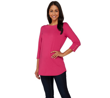 """As Is"" Susan Graver Butterknit 3/4 Sleeve Tunic w/Button Detail"