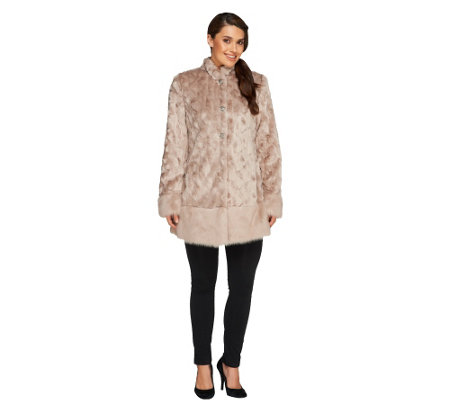 """As Is"" Dennis Basso Platinum Collection Textured Faux Fur Coat"