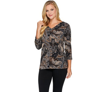 Susan Graver Printed Textured Liquid Knit V-neck Top - A282083