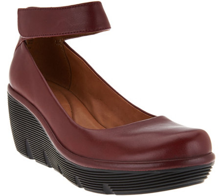 Clarks Artisan Leather Ankle Wrap Wedge Pumps - Clarene Tide