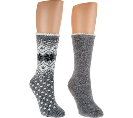 Cuddl Duds Plushfill Cozy Lined Cabin Socks Set of 2