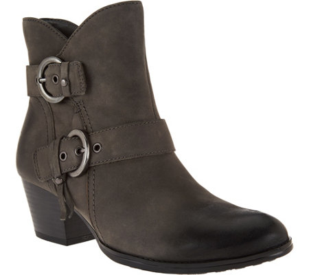 Earth Leather Ankle Boots w/ Buckle Detail - Olive