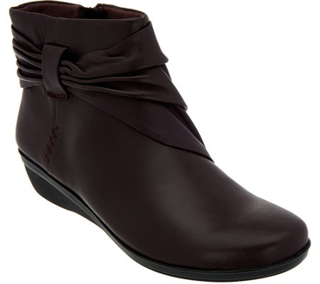 Clarks Leather Ankle Boots with Ruching - Everlay Mandy