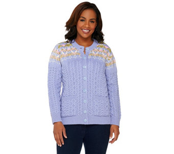 """As Is"" Aran Craft Merino Wool Jacquard Crew Neck Cardigan - A283883"