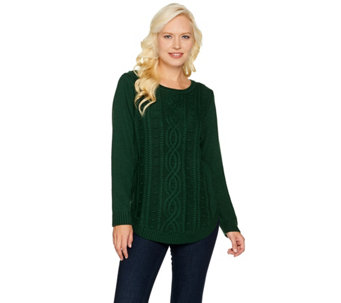 C. Wonder Popcorn Stitch Curved Hem Pullover Sweater - A284183