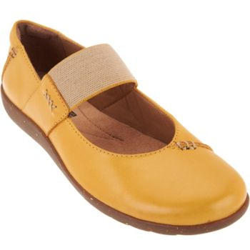 Clarks Leather Gore Strap Mary Janes - Medora Elie