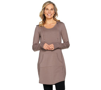 AnyBody Loungewear Cozy Knit French Terry Hooded Tunic - A286583
