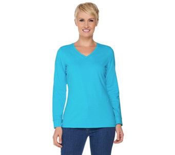 Denim & Co. Essentials Long Sleeve V Neck Top - A286783