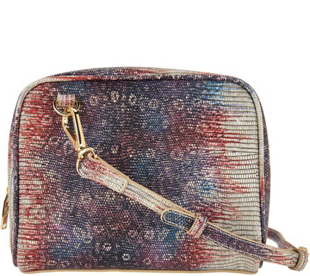 LOGO by Lori Goldstein Embossed Crossbody Double Bag