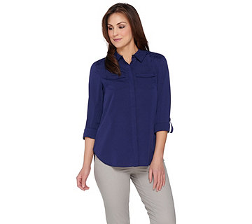 Isaac Mizrahi Live! Woven Utility Blouse with Lace Back - A287383