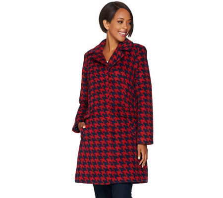 """As Is"" Issac Mizrahi Live! Brushed Houndstooth Snap Front Coat"