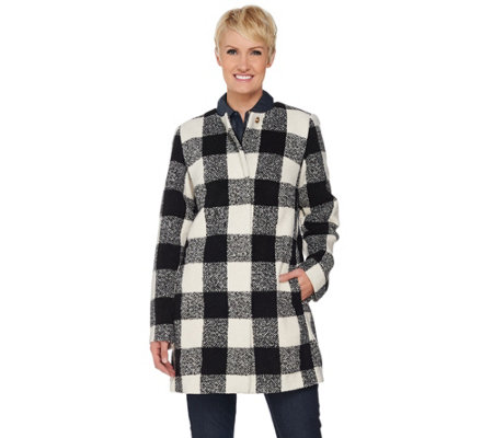 """As Is"" C. Wonder Wool Blend Buffalo Plaid Snap Front Coat"