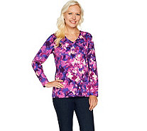 Denim & Co. Perfect Jersey Printed Long Sleeve V-Neck Top - A294083