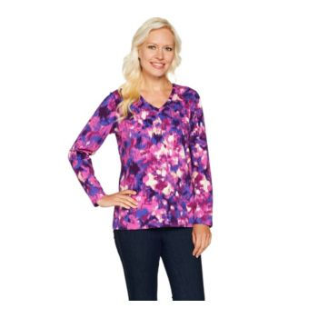 Denim & Co. Perfect Jersey Printed Long Sleeve V-Neck Top