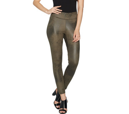 Du Jour Pull-On Distressed Faux Suede Leggings