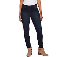 Hot in Hollywood Silky Denim Pull-On Skinny Ankle Jeans - A295683