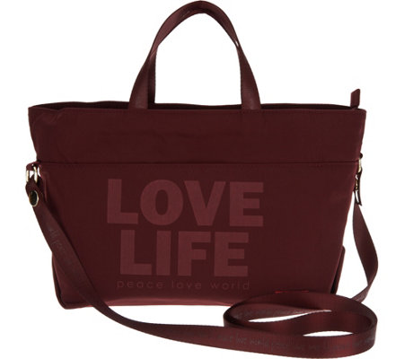 Peace Love World Lunch Tote with Strap