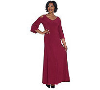 Attitudes by Renee Regular Como Jersey Flutter Sleeve Maxi Dress - A306483