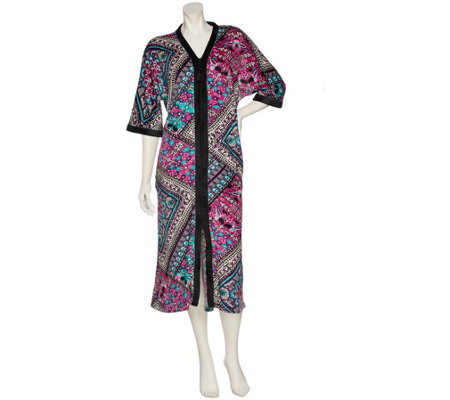 """As Is"" Ellen Tracy Plush Velour Zip Front Long Caftan"