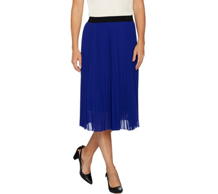 """As Is"" Susan Graver Pleated Chiffon Pull-On Skirt"