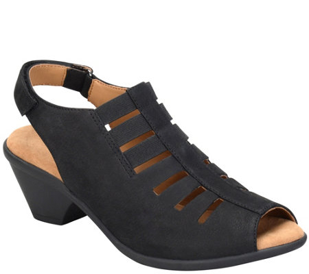 Comfortiva by Softspots Peep-Toe Leather Sandals - Faye