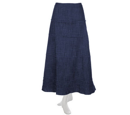 Denim & Co. Lightweight Stretch Denim Tiered Skirt