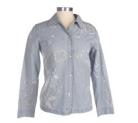 Susan Graver Stretch Denim Allover Embroidered