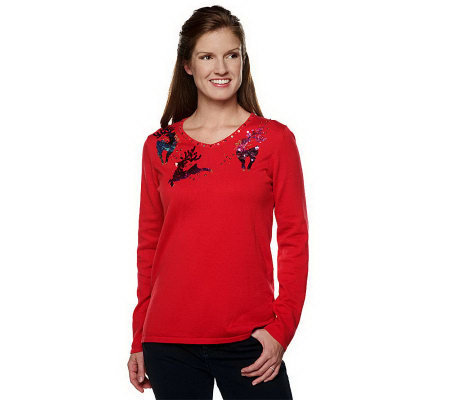 Quacker Factory Ombre Sequin Holiday Sweater
