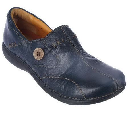Clarks Unstructured Leather Slip-on Shoes - Un.Loop