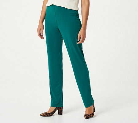 Susan Graver Essentials Liquid Knit Straight Leg Pants - Petite