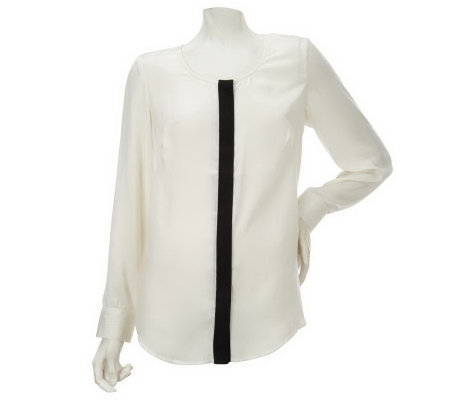 Nicole Richie Collection Button Front Blouse with Contrast Trim