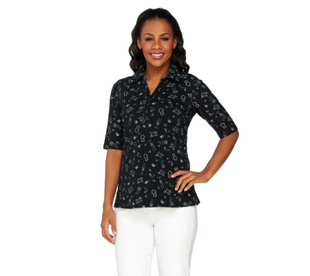 Susan Graver Weekend Printed Stretch Cotton Polo