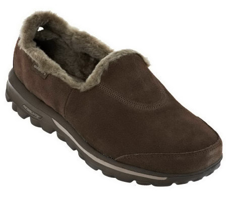 Skechers GOwalk Suede Slip-on Shoes with Faux Fur
