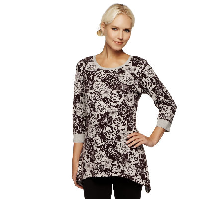 Denim & Co. Knit 3/4 Sleeve Floral Print Trapeze Hem Top