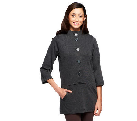 Linea by Louis Dell'Olio 3/4 Sleeve Ponte Knit Tunic