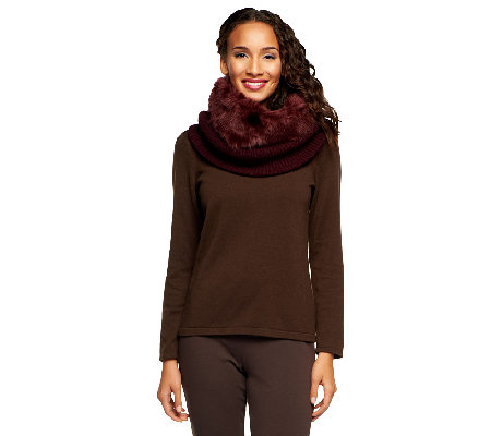 Dennis Basso Knit Snood w/ Faux Fur Trim