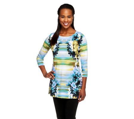 George Simonton Printed Milky Knit Top with Signature Gusset