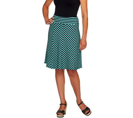George Simonton Petite Crepe Knit Striped Skirt w/ Panels
