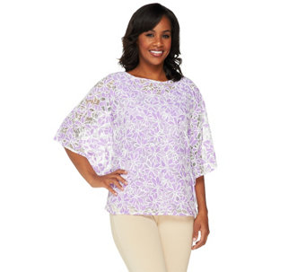 Bob Mackie's Floral Lace Caftan Top - A254284