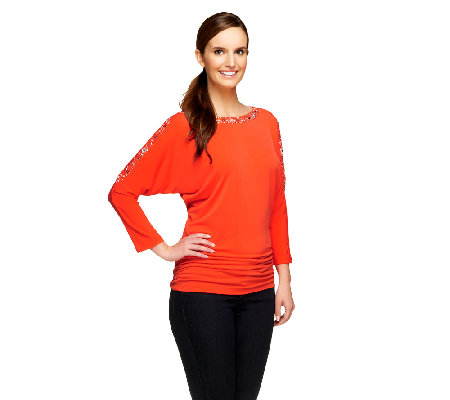 Susan Graver Liquid Knit Beaded Dolman 3/4 Sleeve Top