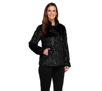 Dennis Basso Crocodile Embossed Faux Fur Motorcycle Jacket - A258484