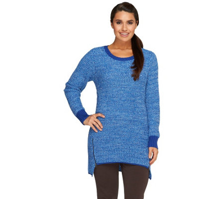 Denim & Co. Petite Marled Sweater with Zipper Detail