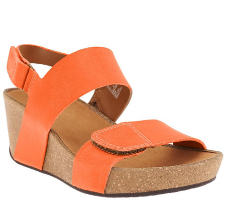Clarks Leather Wedge Backstrap Sandals - Auriel Fin