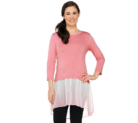 LOGO by Lori Goldstein Slub Knit Top with Ombre Chiffon Hem