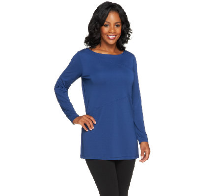 """As Is"" Susan Graver Premier Knit Long Sleeve Bateau Neck Tunic"