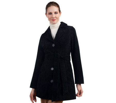 """As Is"" Dennis Basso Washable Suede Trench Coat with Removable Belt"