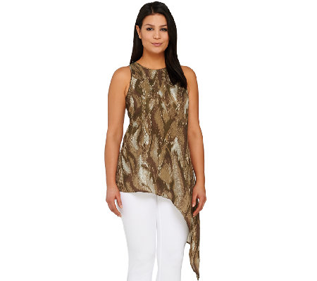 G.I.L.I. Sleeveless Snake Printed Top with Asymmetric Hem