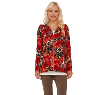 LOGO Lounge by Lori Goldstein French Terry Printed Hooded Jacket - A266784